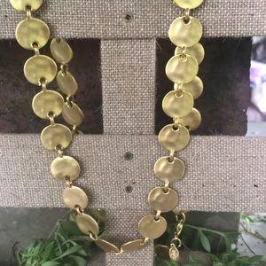Premier Design Gold plates Brushed Disc Necklace